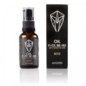 Olejek do brody i twarzy, skóra wrażliwa i sucha, face & beard oil, dry & sensitive skin MEN 30 ml Masveri